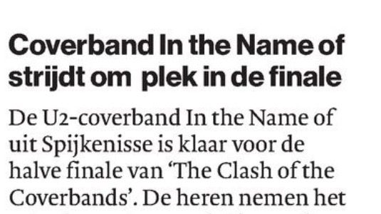 Coverband In the Name of strijdt om plek in de finale